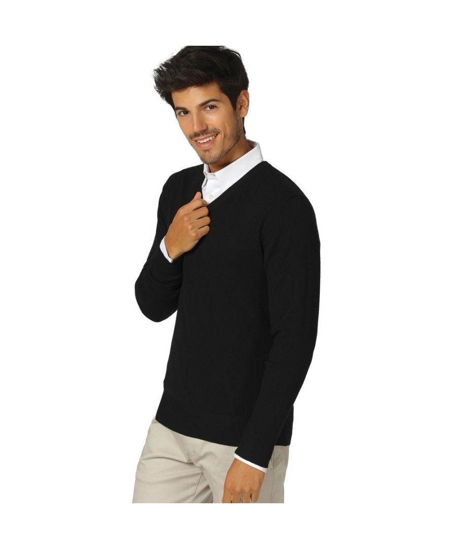 Image for William De Faye V-neck Long Sleeve Sweater in Black