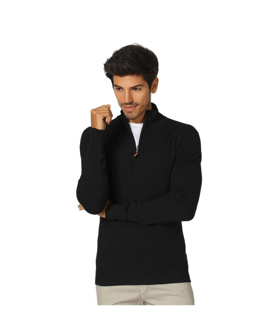 Image for William De Faye Long Sleeve Half Zip Sweater in Black