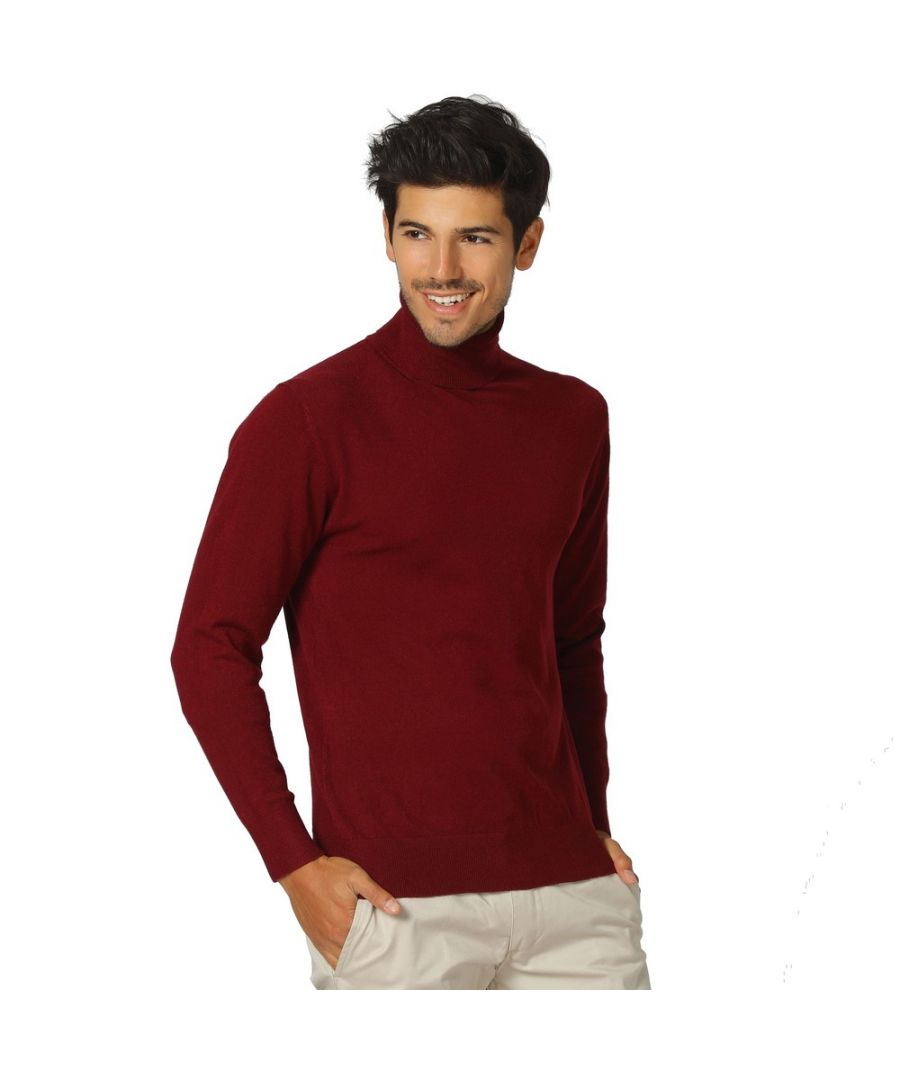 Image for William De Faye Roll Neck Long Sleeve Sweater in Maroon