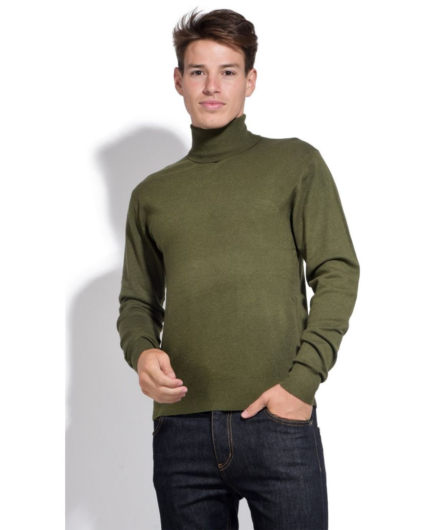 Image for William De Faye Roll Neck Long Sleeve Sweater in Khaki