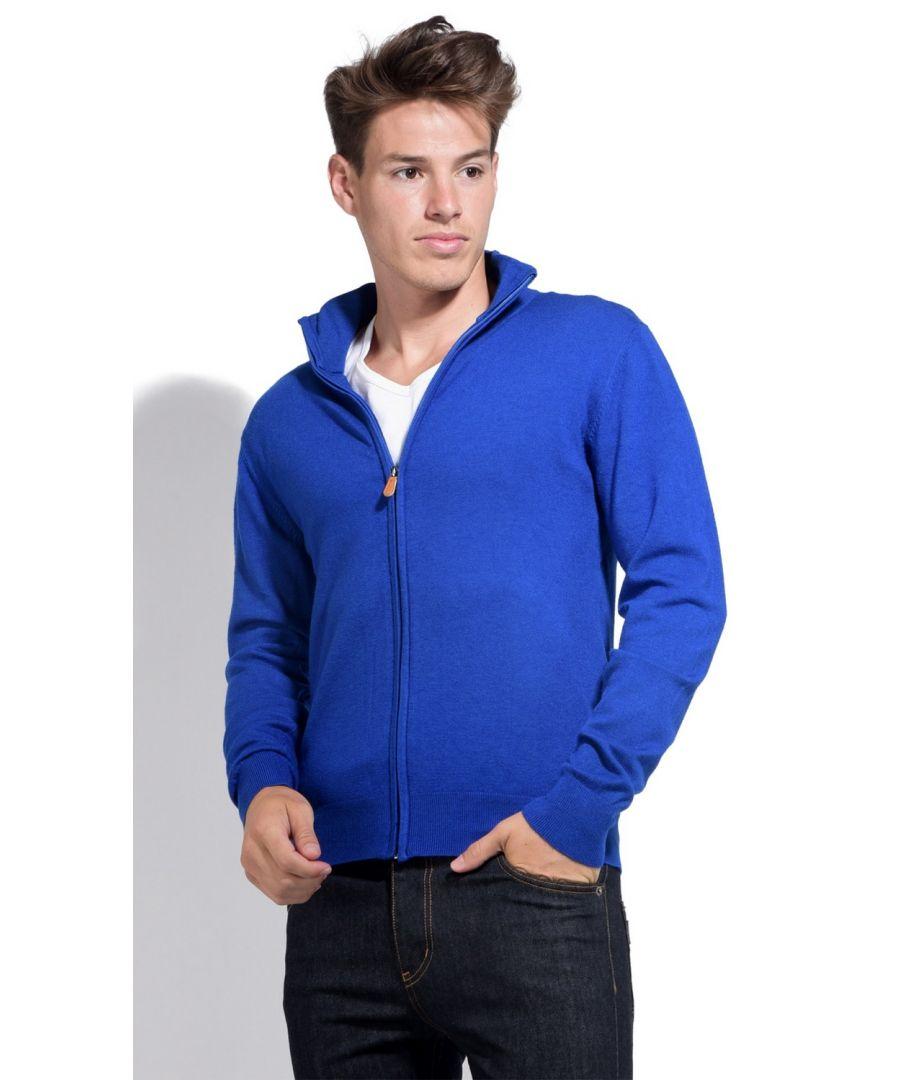 Image for William De Faye Long Sleeve Zip Cardigan in Blue