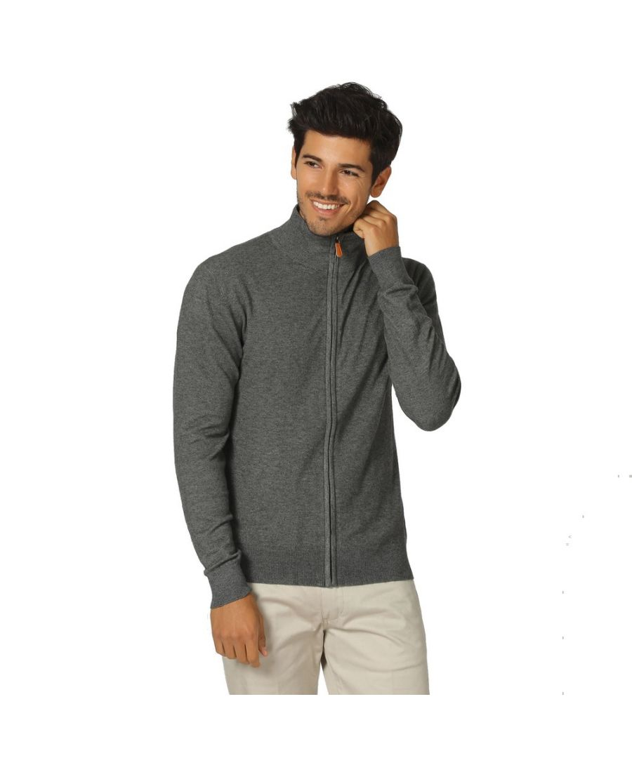 Image for William De Faye Long Sleeve Zip Cardigan in Grey