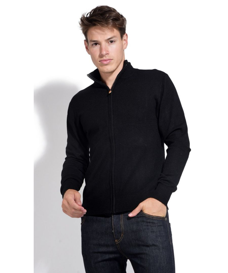 Image for William De Faye Long Sleeve Zip Cardigan in Black
