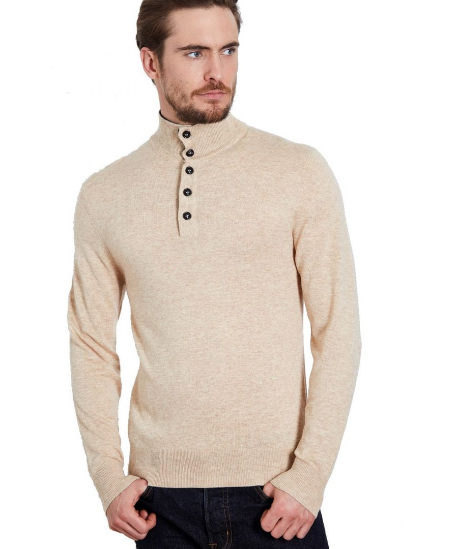 Image for William De Faye High Neck Two-tone Collar Sweater with Buttons in Beige