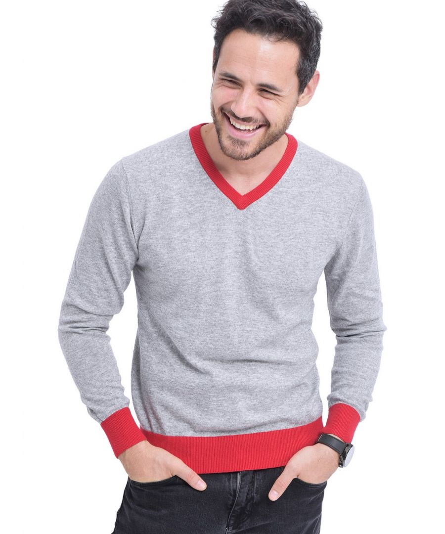 Image for William De Faye V-neck Two-tone Sweater in Grey