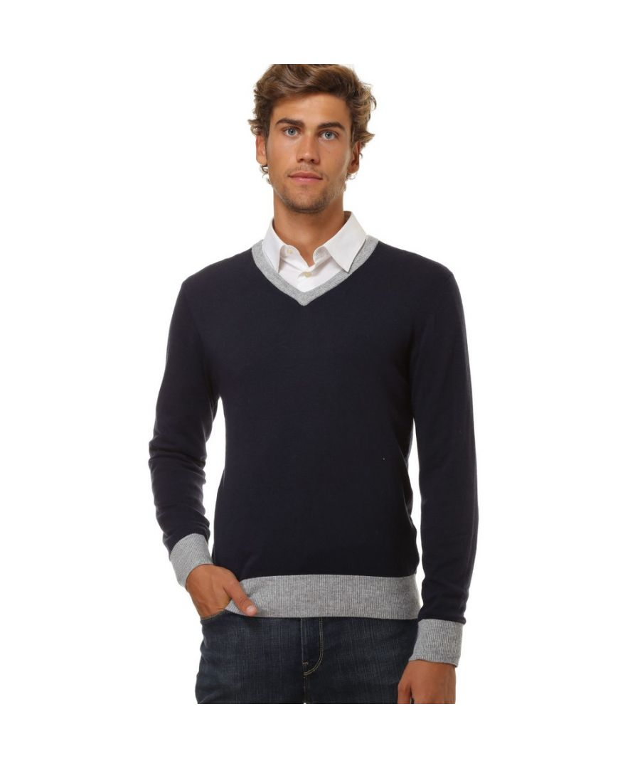 Image for William De Faye V-neck Two-tone Sweater in Navy