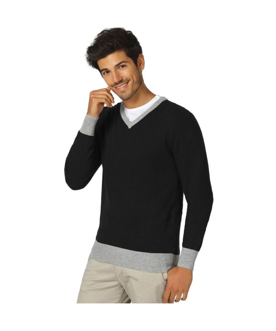 Image for William De Faye V-neck Two-tone Sweater in Black