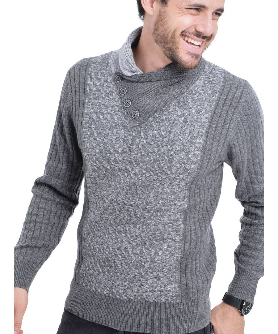 Image for William De Faye Shawl Collar Jacquard Sweater with Butons in Grey