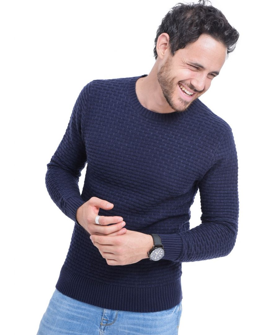 Image for William De Faye Round Neck Jacquard Sweater in Navy