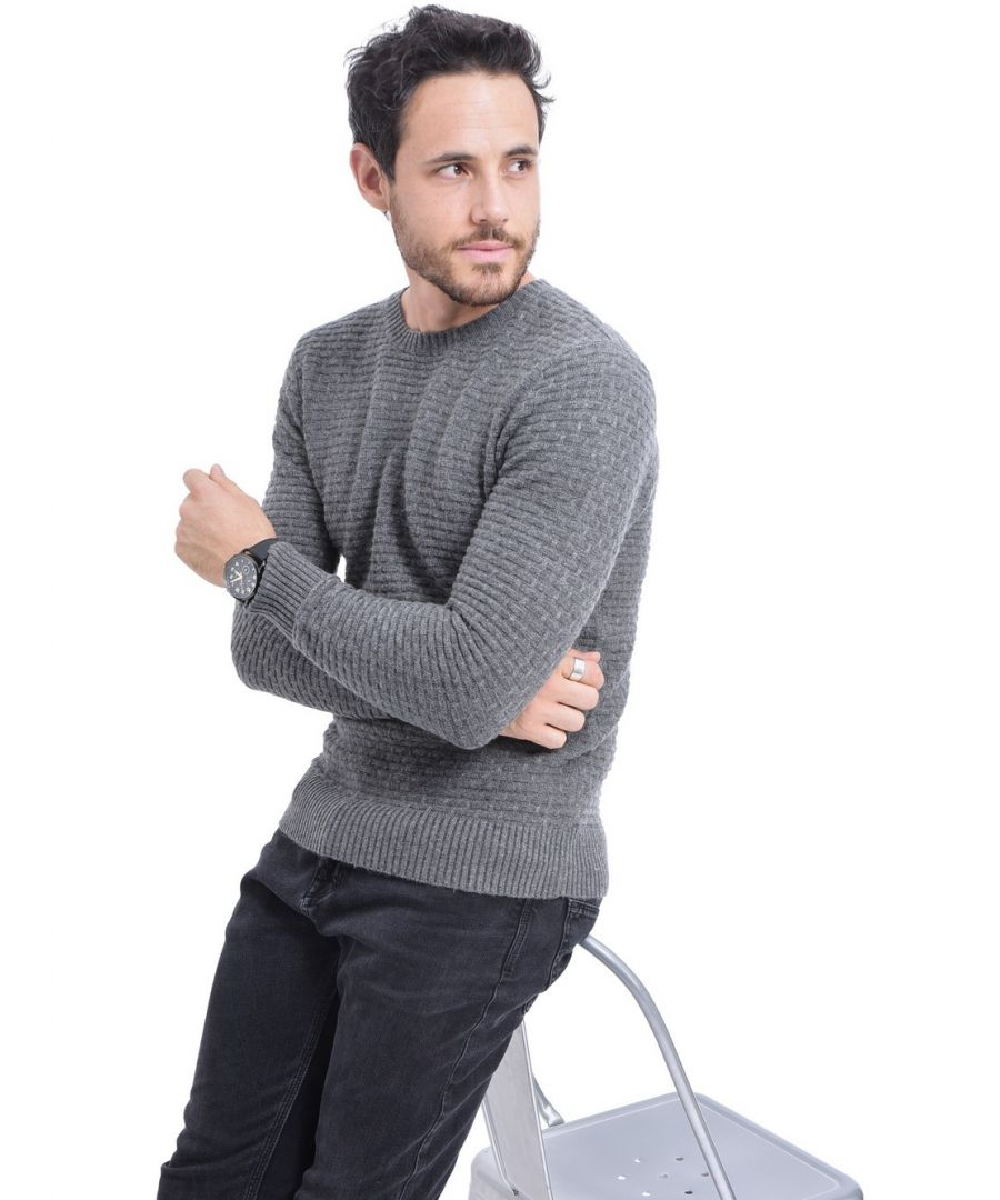 Image for William De Faye Round Neck Jacquard Sweater in Grey