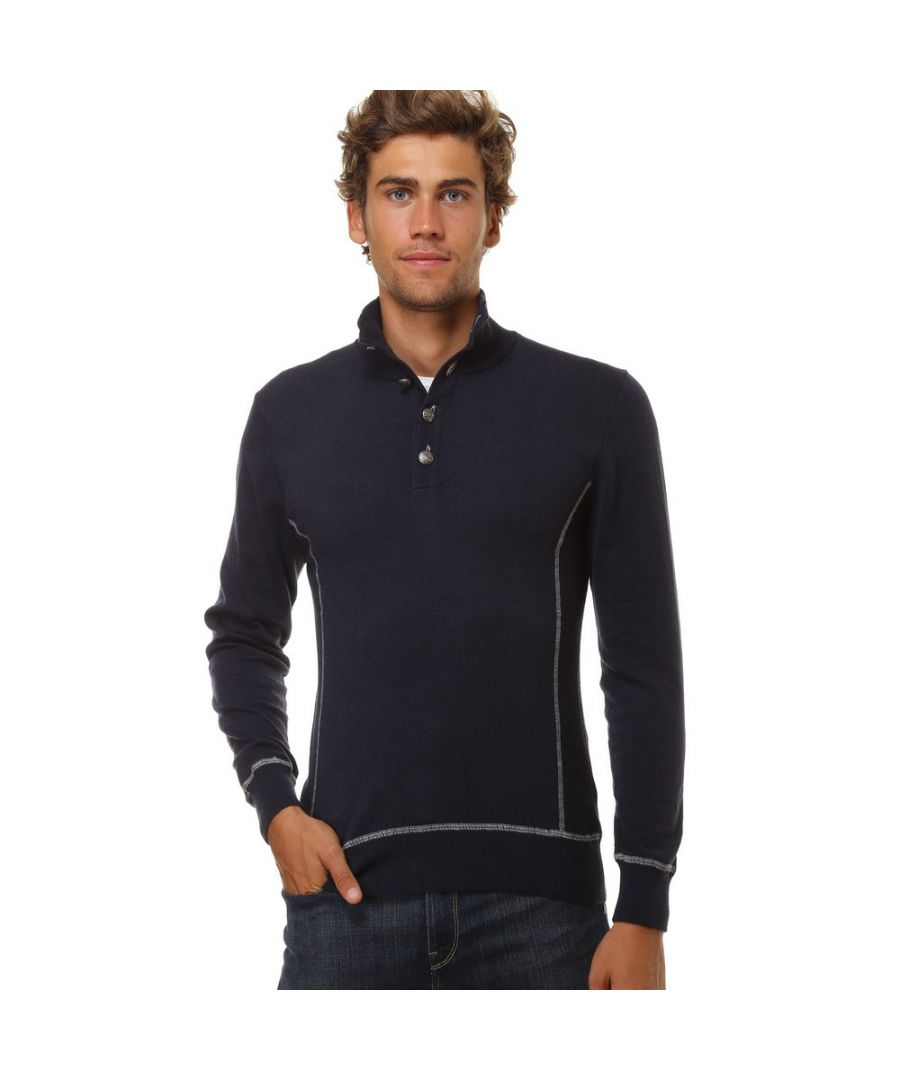 Image for William De Faye High Neck Sweater with Buttons and Contrast Stitching in Navy