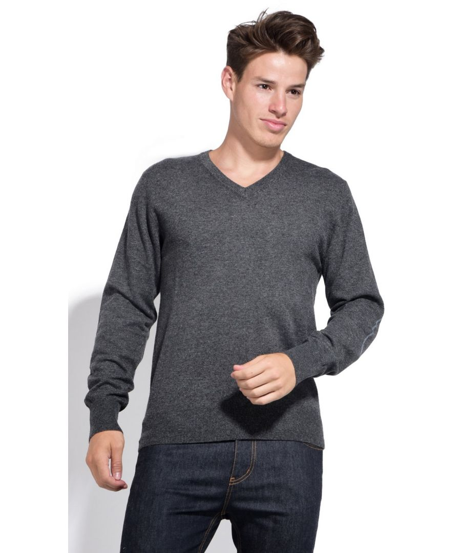 Image for William De Faye V-neck Sweater with Elbow Patches in Grey