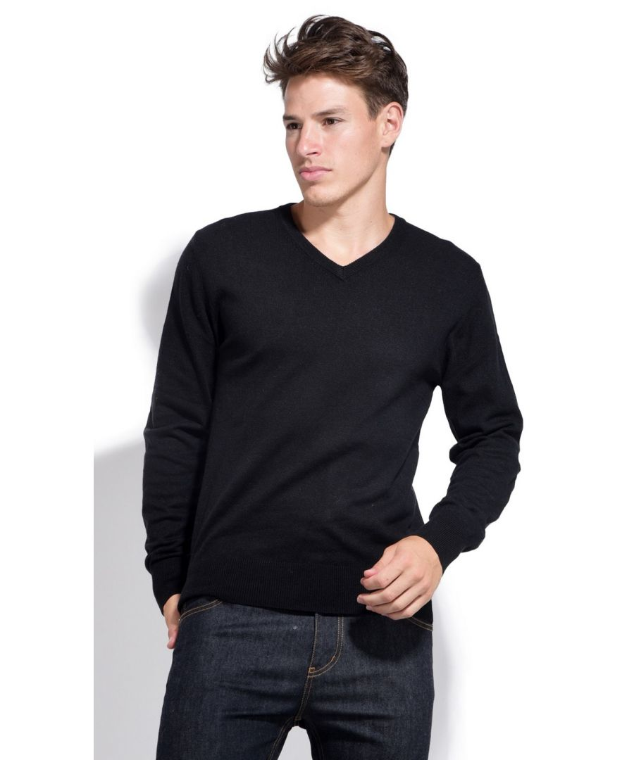 Image for William De Faye V-neck Sweater with Elbow Patches in Black