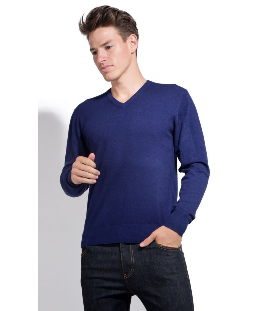 Image for William De Faye V-neck Sweater with Contrasting Inner Collar in Navy