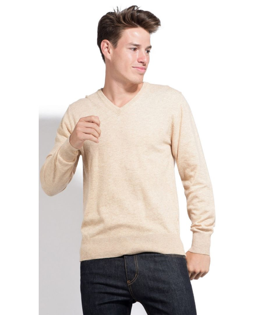 Image for William De Faye V-neck Sweater with Contrasting Inner Collar in Beige