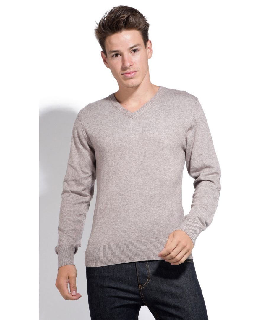 Image for William De Faye V-neck Sweater with Contrasting Inner Collar in Brown