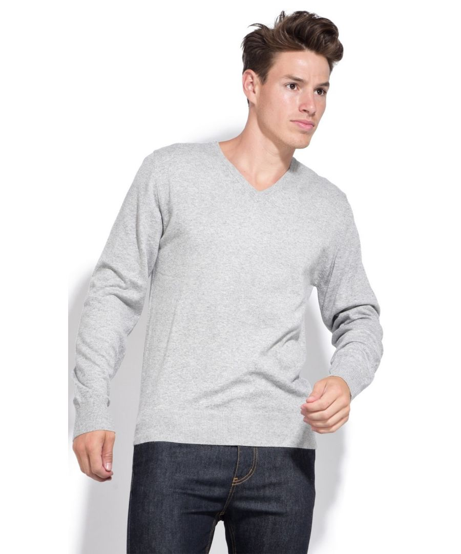 Image for William De Faye V-neck Sweater with Contrasting Inner Collar in Grey