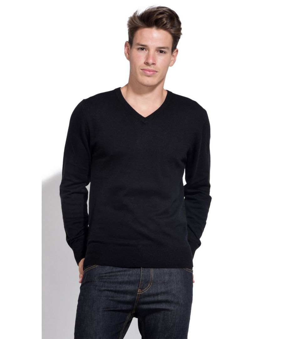 Image for William De Faye V-neck Sweater with Contrasting Inner Collar in Black