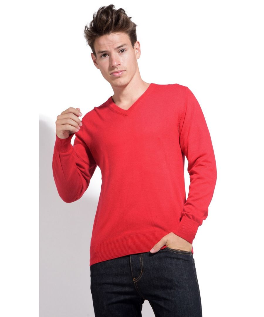 Image for William De Faye V-neck Sweater with Contrasting Inner Collar in Red