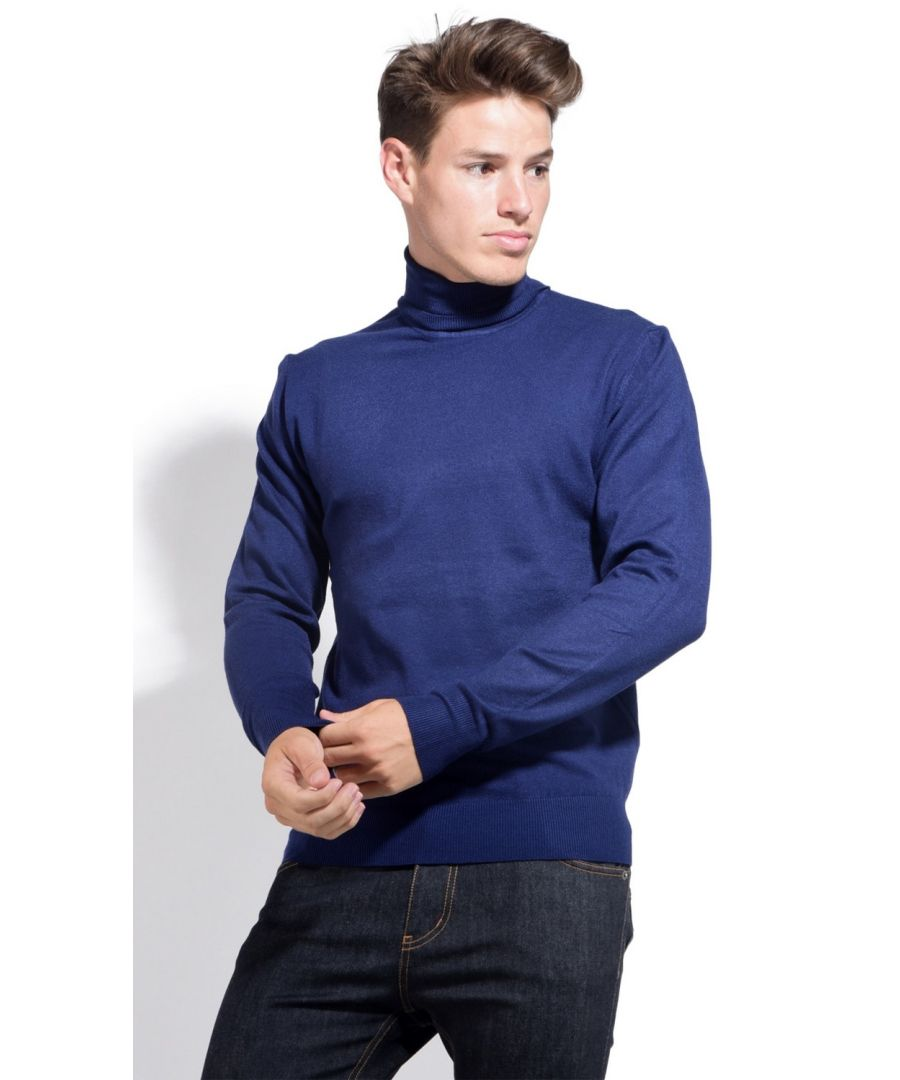Image for William De Faye Roll Neck Long Sleeve Sweater in Navy