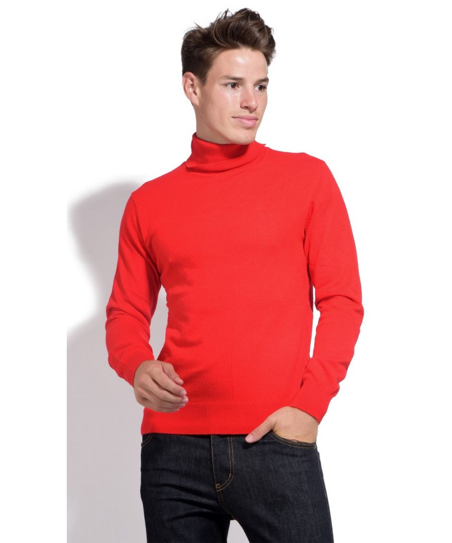 Image for William De Faye Roll Neck Long Sleeve Sweater in Red