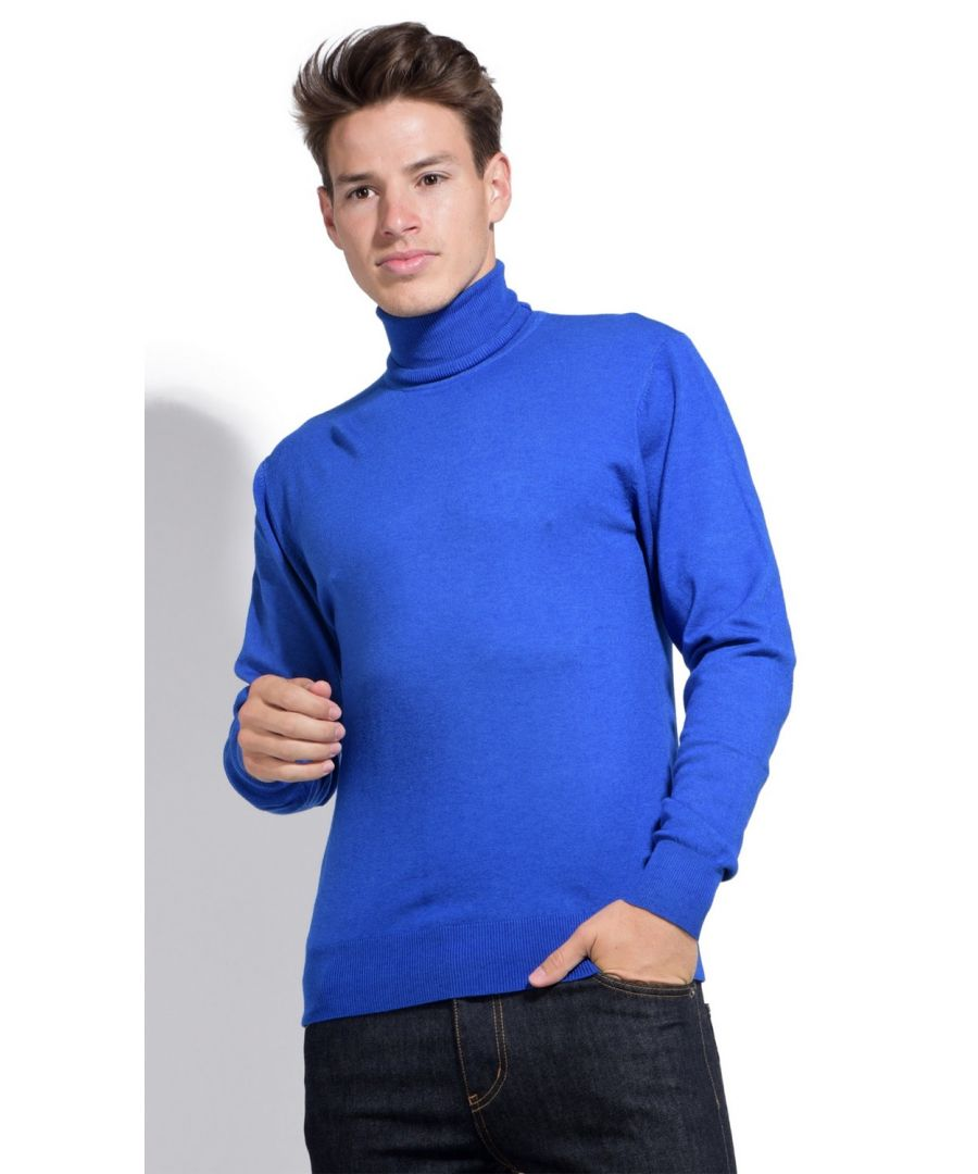 Image for William De Faye Roll Neck Long Sleeve Sweater in Blue