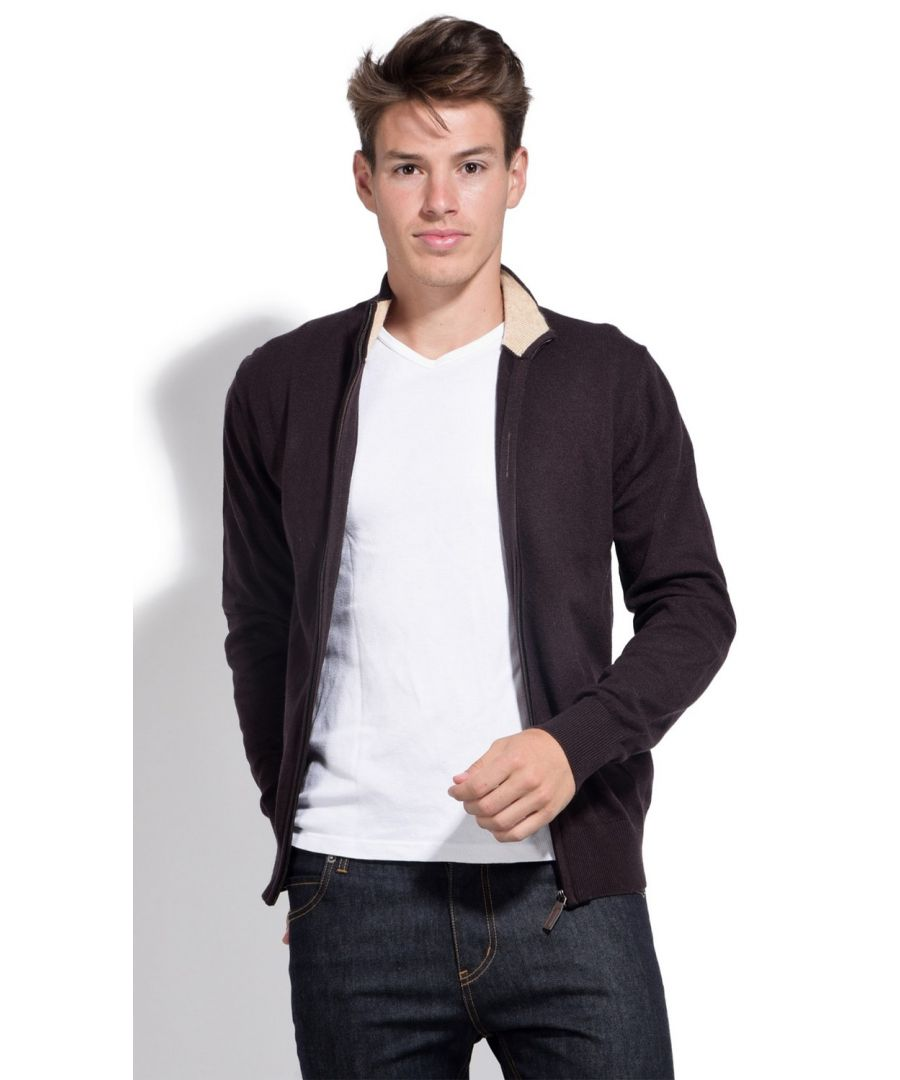 Image for William De Faye Two-tone Collar Zip Cardigan in Brown