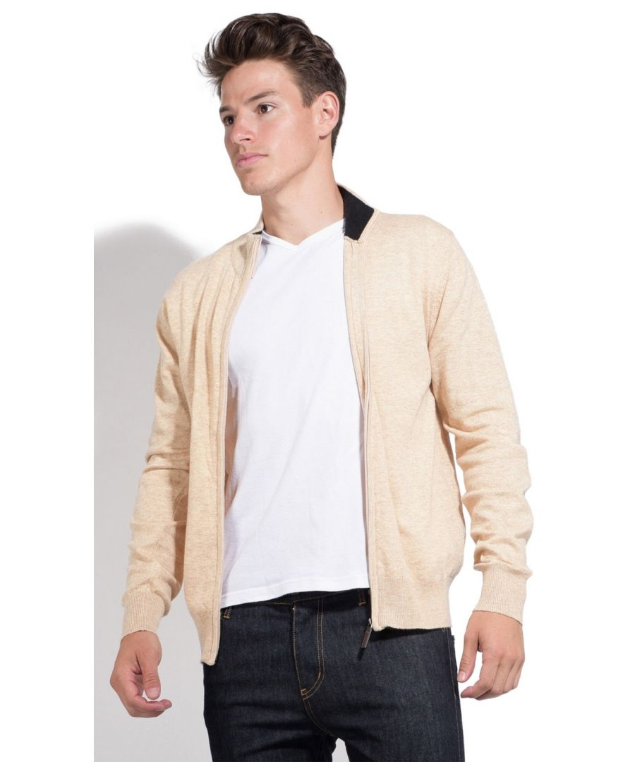 Image for William De Faye Two-tone Collar Zip Cardigan in Beige