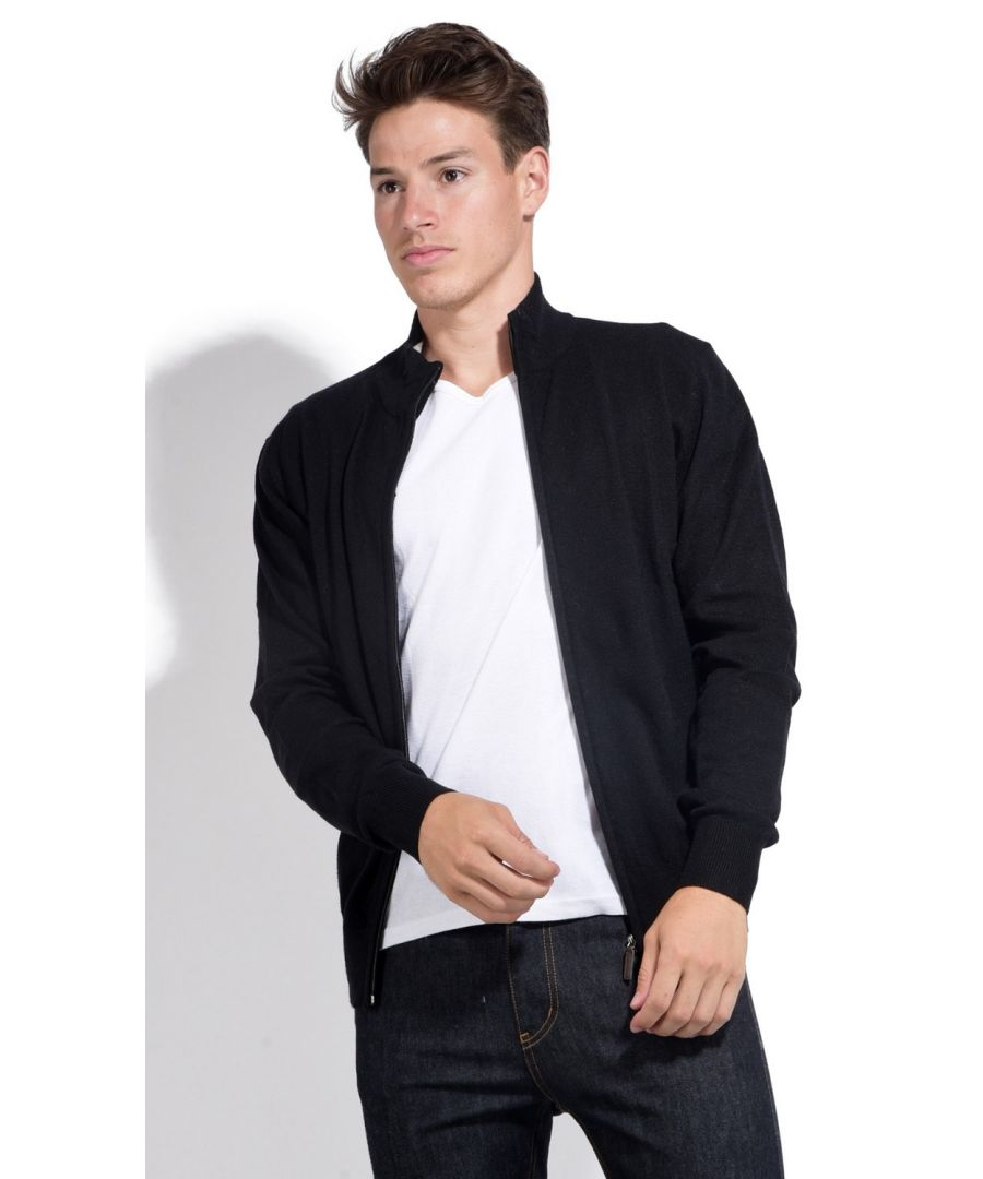 Image for William De Faye Two-tone Collar Zip Cardigan in Black