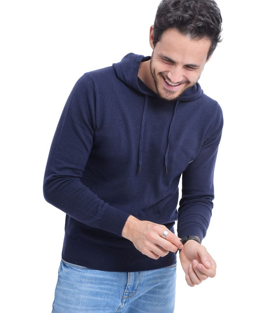 Image for William De Faye Hooded Sweater with Cords in Navy