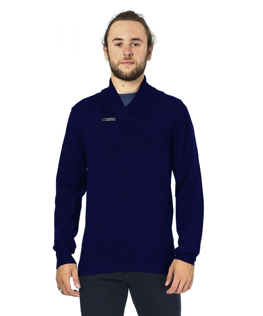 Image for William De Faye Shawl Neck Sweater with Leather Buckle in Navy