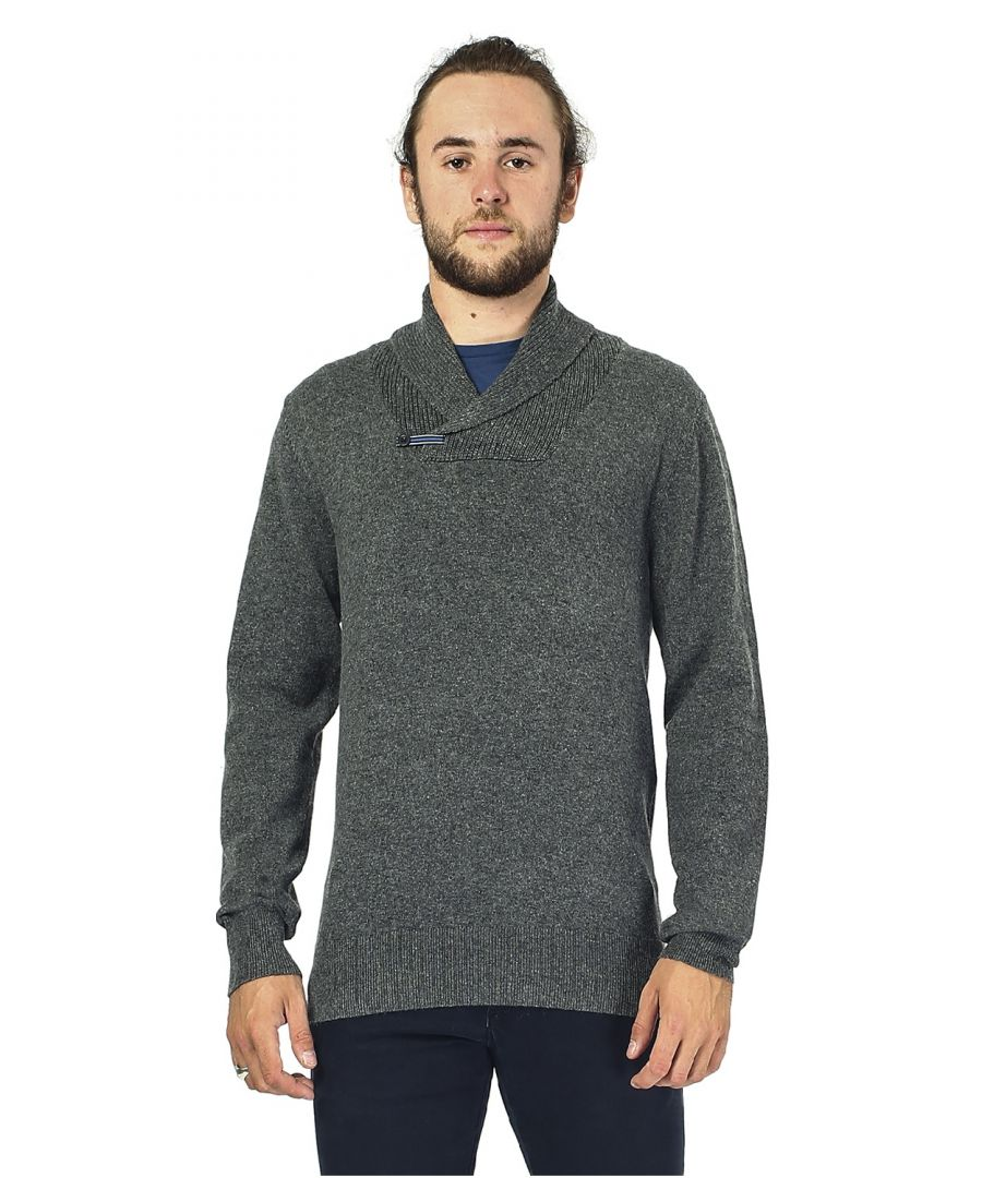Image for William De Faye Shawl Neck Sweater with Leather Buckle in Grey