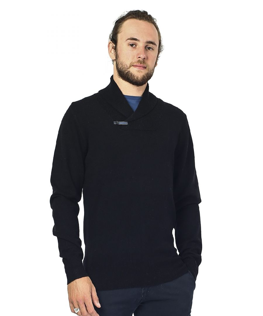 Image for William De Faye Shawl Neck Sweater with Leather Buckle in Black
