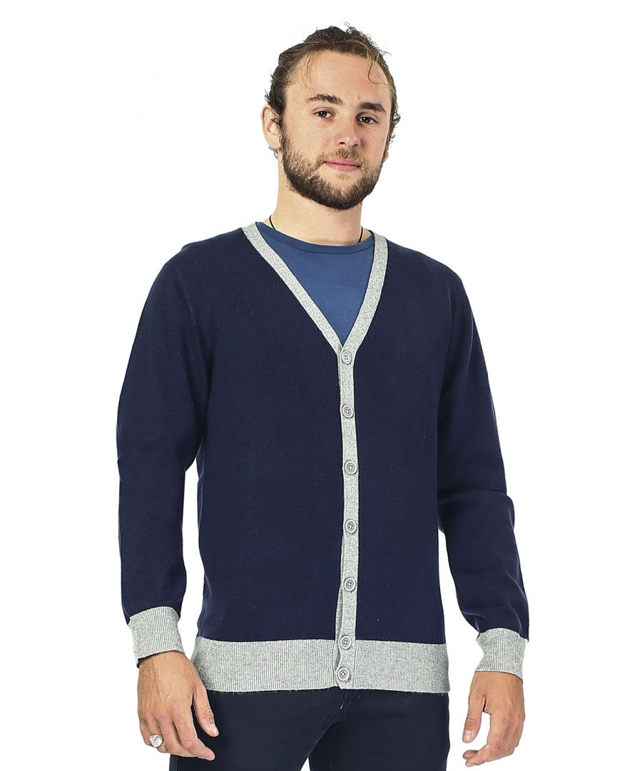Image for William De Faye Two-tone Buttoned Cardigan in Navy
