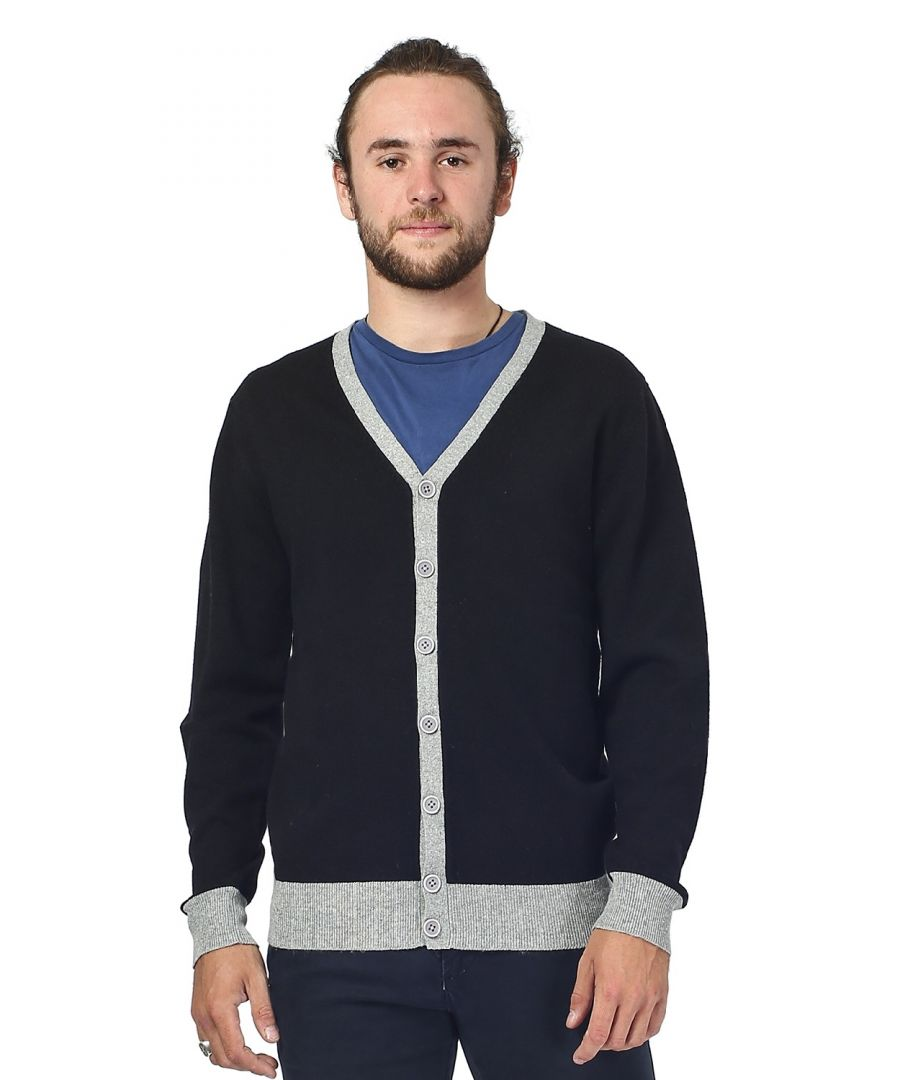 Image for William De Faye Two-tone Buttoned Cardigan in Black