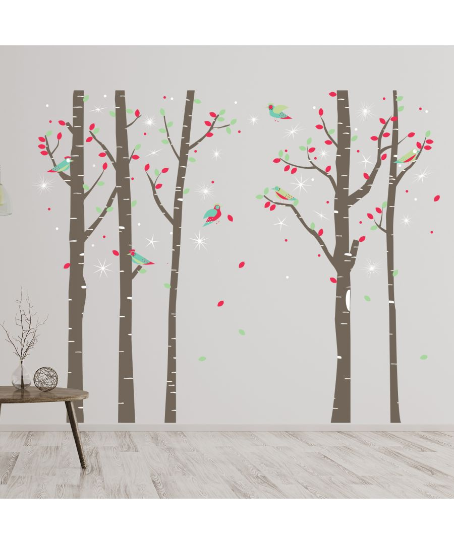 Image for Walplus Birch Tree Forest with Swarovski Crystals Wall Sticker