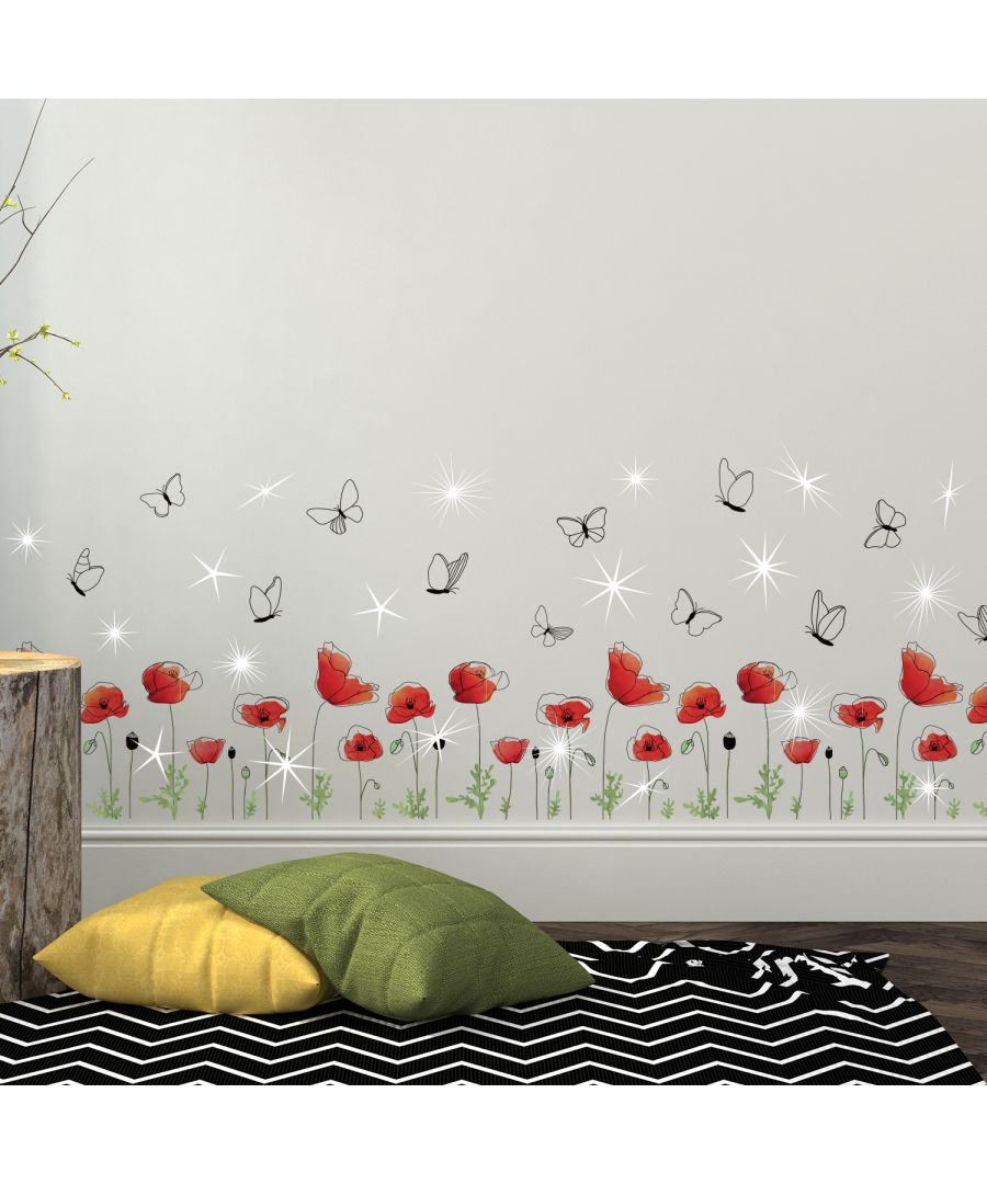 Image for Walplus Wall Sticker Red Poppy with Swarovski Crystals