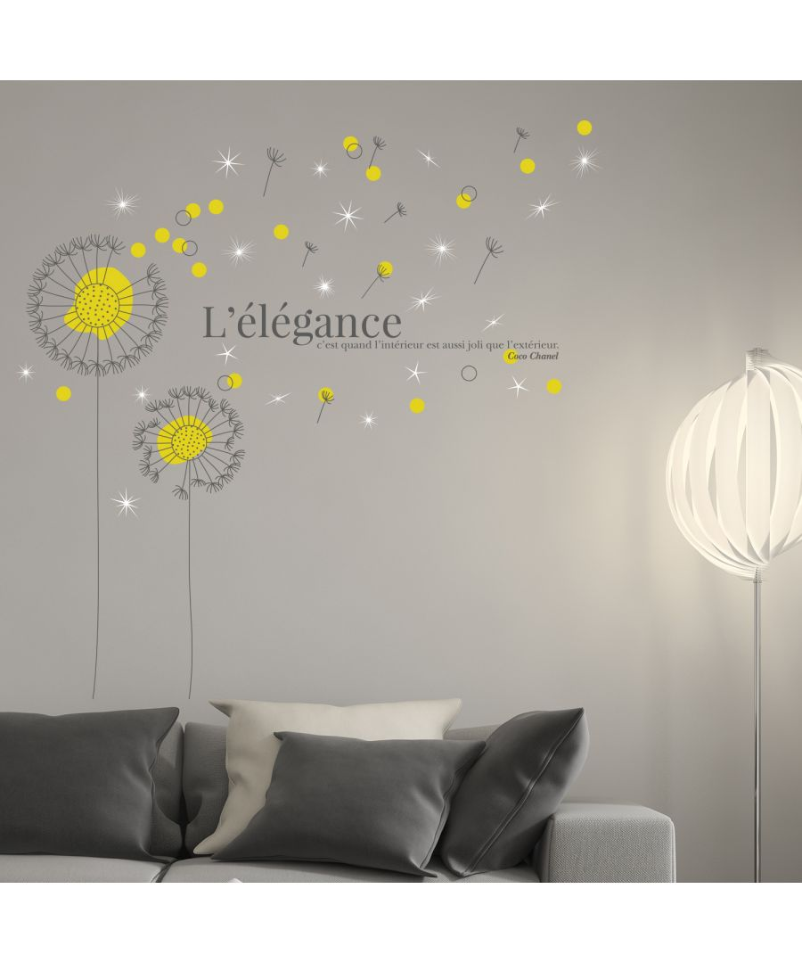 Image for Walplus French Quote Yellow Dandelion Wall Sticker with Swarovski Crystals