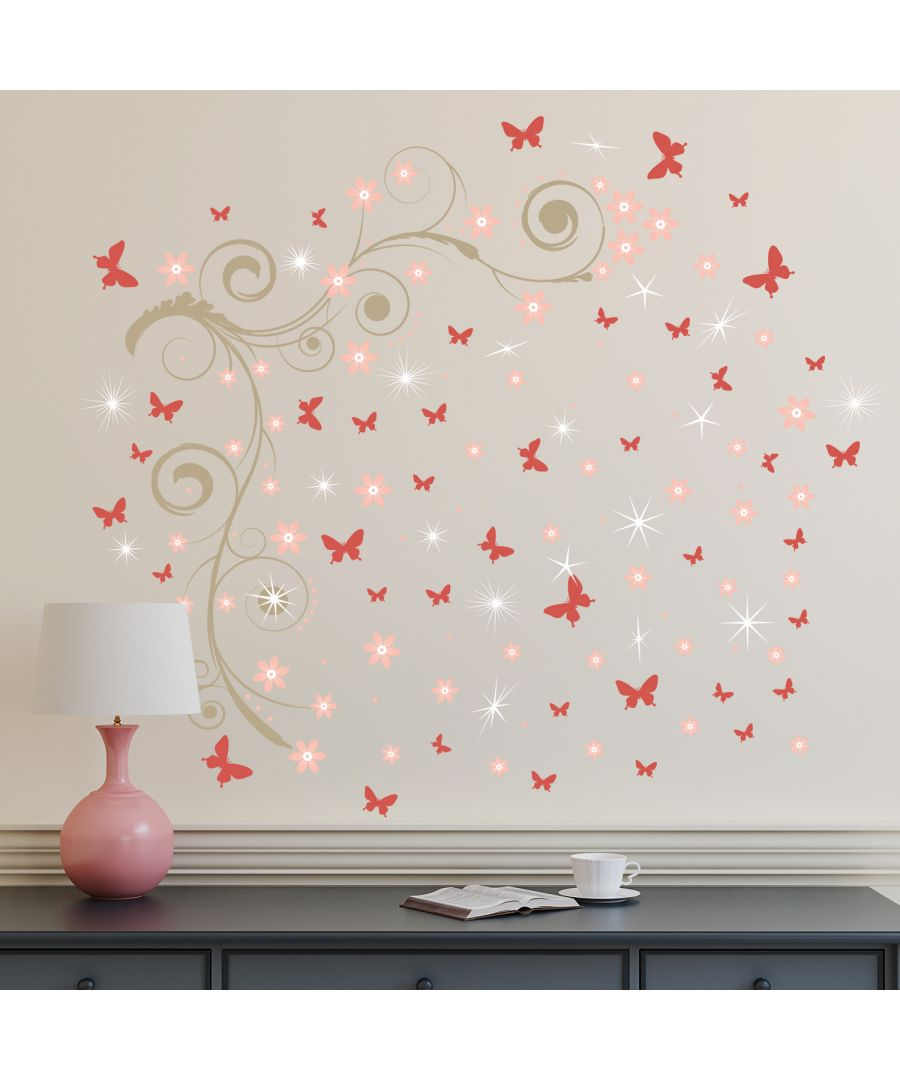Image for Walplus Pink Butterfly Vine Wall Sticker Art with Swarovski Crystals