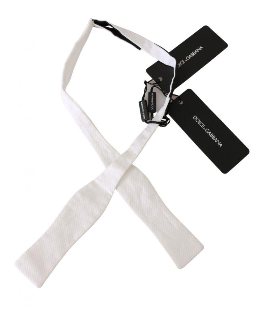 Image for Dolce & Gabbana White Slim Skinny Men Necktie 100% Cotton Tie