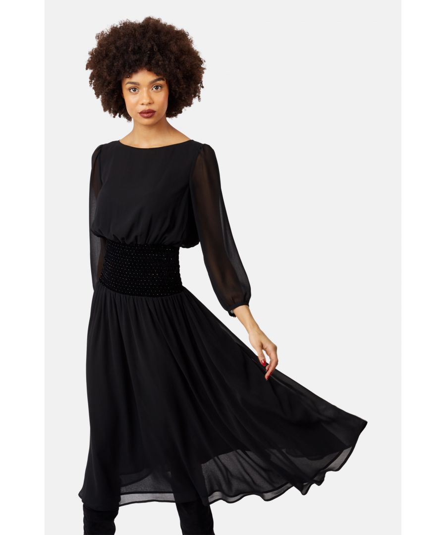 Image for Sheer White Light Long Sleeve Midi Dress in Black