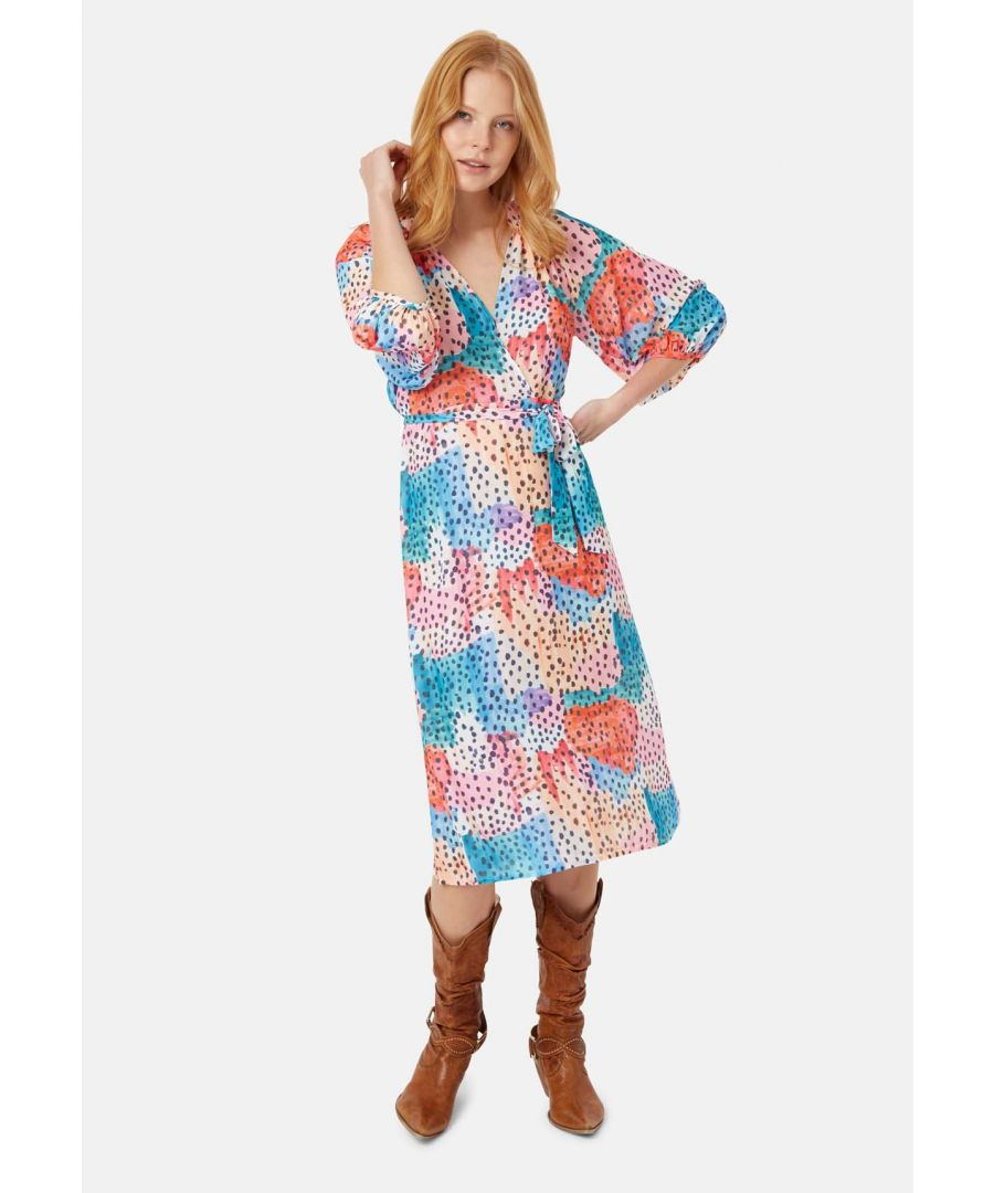 Image for Belt Up Long Sleeve Midi Dress in Multicoloured
