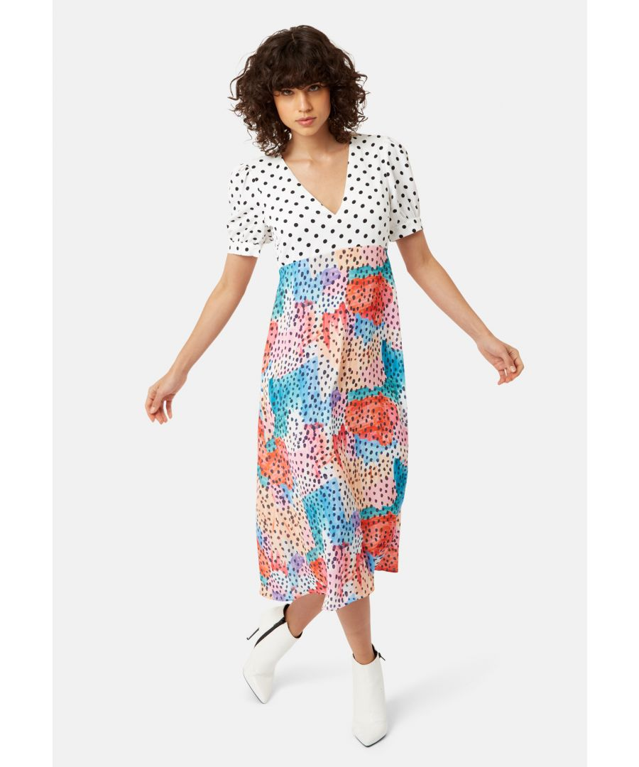 Image for Mia Polka Dot Midi Dress in Multicoloured