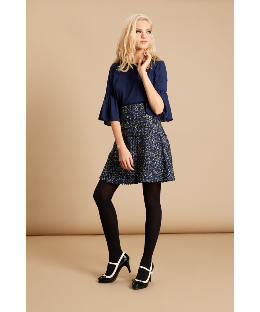 Image for Tweed Skater Mini Skirt in Navy