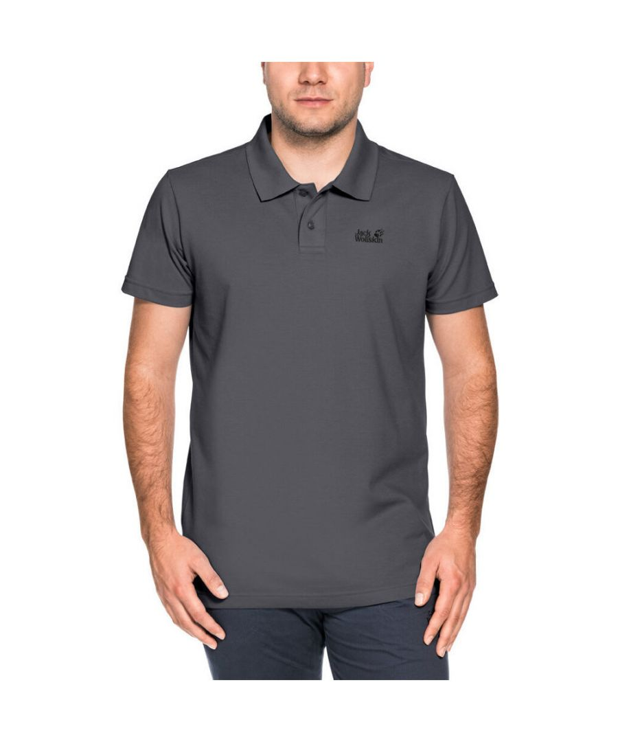Image for Jack Wolfskin Mens Pique Wicking Breathable Polycotton Polo Shirt