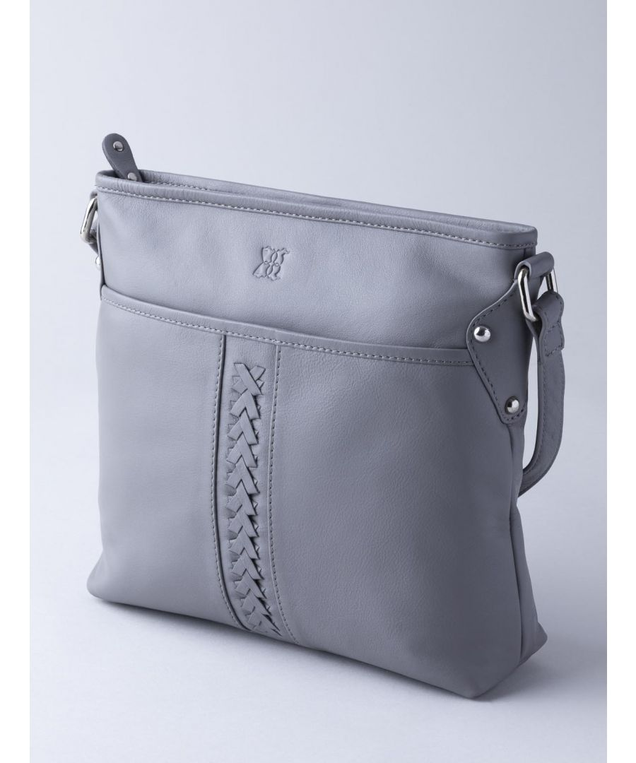 Image for Farlam Plaited Leather Cross Body Bag in Grey