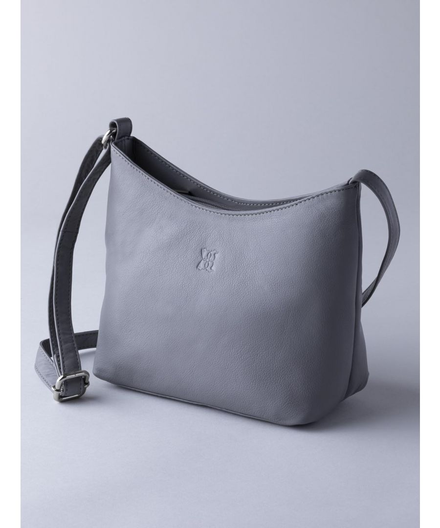 Image for Fornside Small Leather Cross Body Bag in Grey