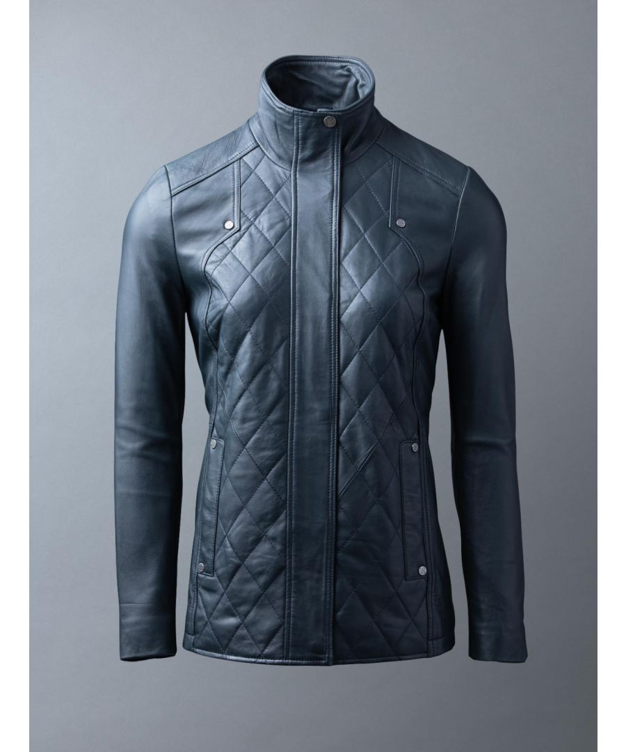 Image for Coniston Leather Coat in Navy