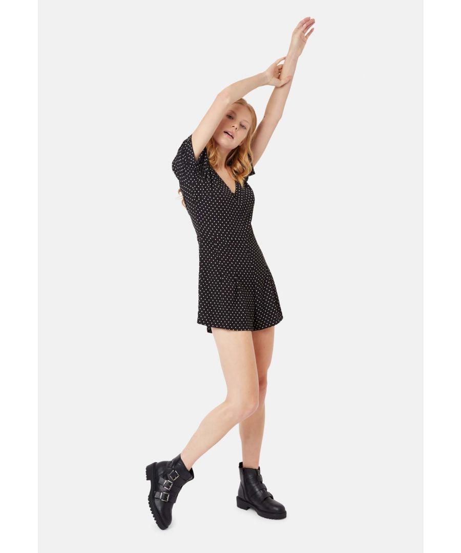 Image for Star Print Short Sleeve Playsuit in Black