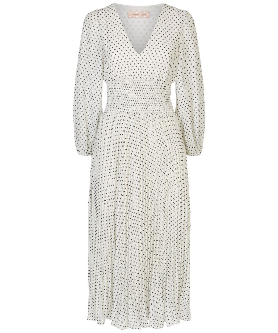 Image for Aurora Star Print Pleated Midi Dress in White